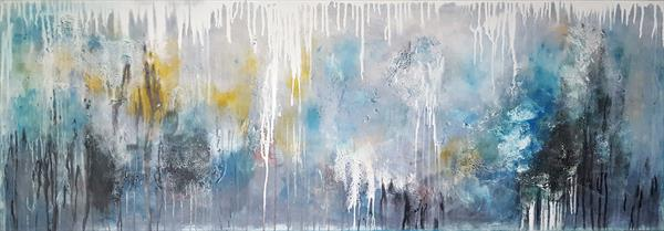 """67''x 23,5""""( 170x60cm), I see Love 6 Landscape, grey blue painting , canvas art, home painting by Veronica Vilsan"""