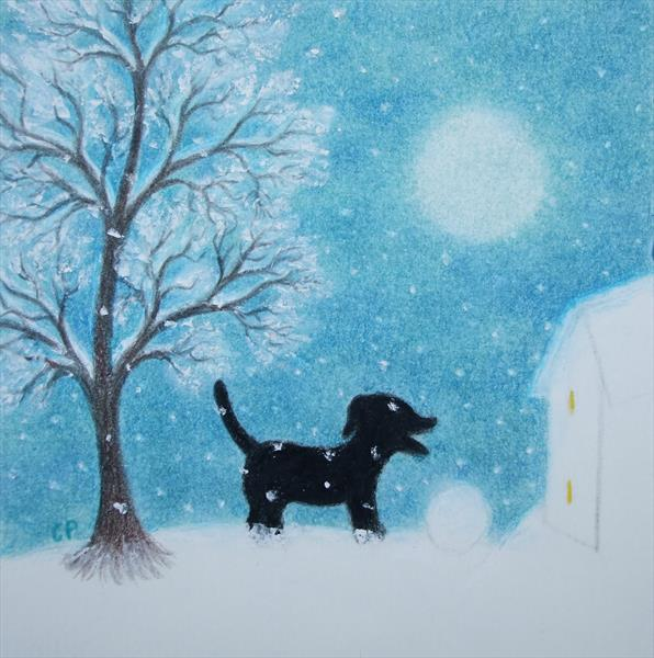 Dog in the Snow (in white Frame)