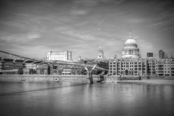 St Pauls Cathedral and the Millennium Bridge by David Henderson