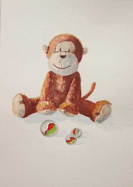 Monkey and Marbles by Marjan's Art