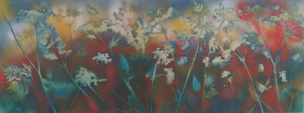 Sun awakening the hedgerow by Lizz Campbell