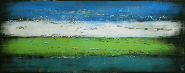 Abstract Painting - Mr. Greenfield blue sky landscape - A22 by Ronald Hunter