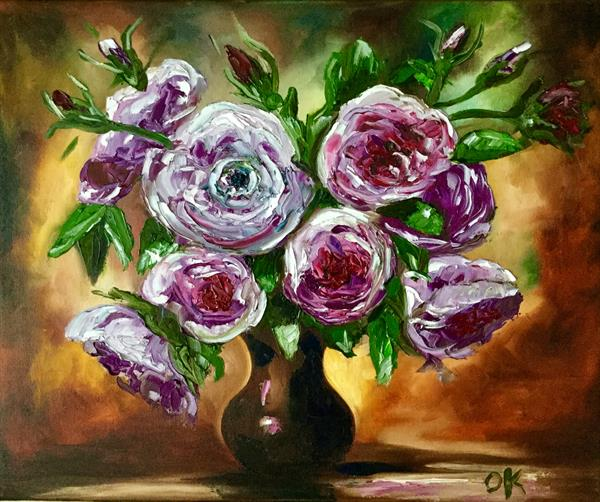 Bouquet of purple roses in a vase  by Olga  Koval