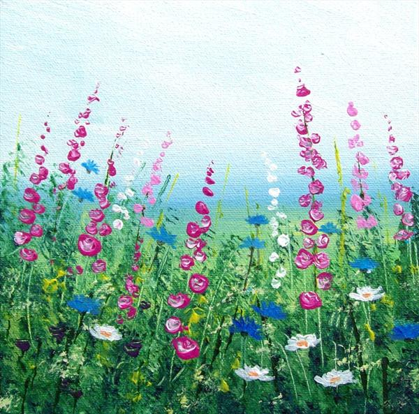 Hollyhocks and Cornflowers