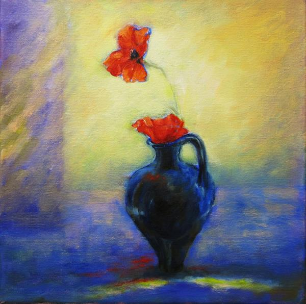 Poppies and Blue Jug by Maureen Greenwood
