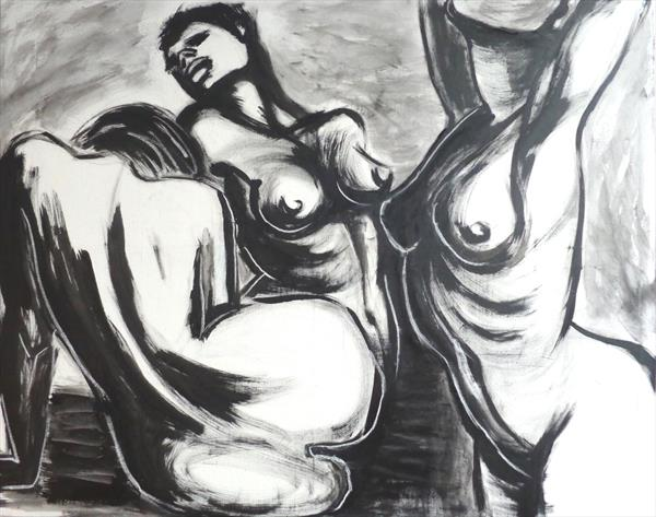 Three Graces In Black And White - Female Nude by Carmen Tyrrell