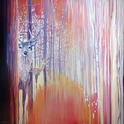 EMERGING large oil on canvas deer in autumn forest painting by Gill Bustamante