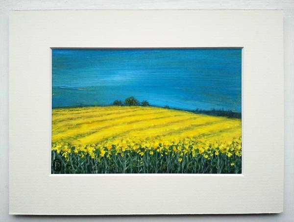 Yellow Rapeseed Fields East From Pontefract - Original Painting