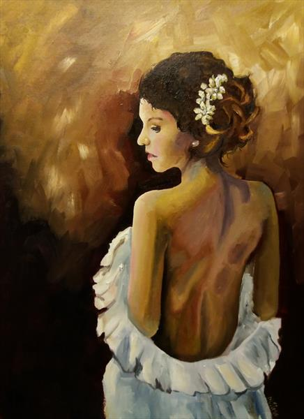Light up my life- A figurative painting of a woman by Marjory Sime by Marjory Sime