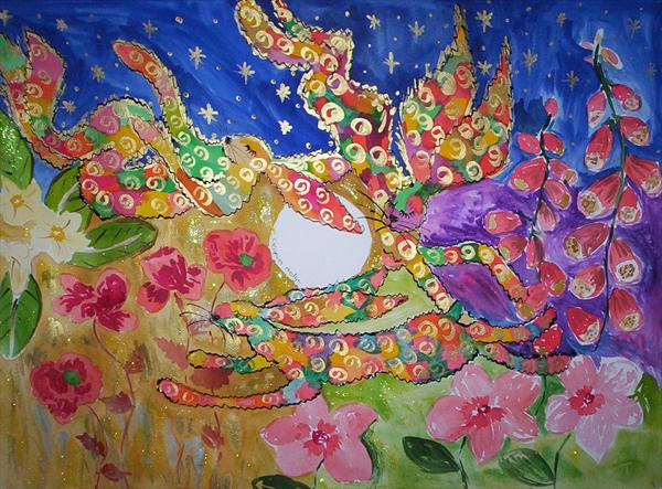 Psychedelic Hares Just Want To Have Fun Among the Flowers