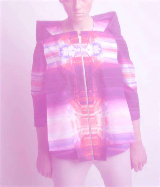 Draped Box Shaped Scanner Jacket with Red Purple Kaleidoscope Textile Print by Elisabeth Grosse