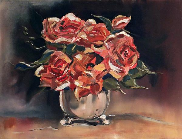 Roses in Silver Bowl - Still Life by Ella Wallis