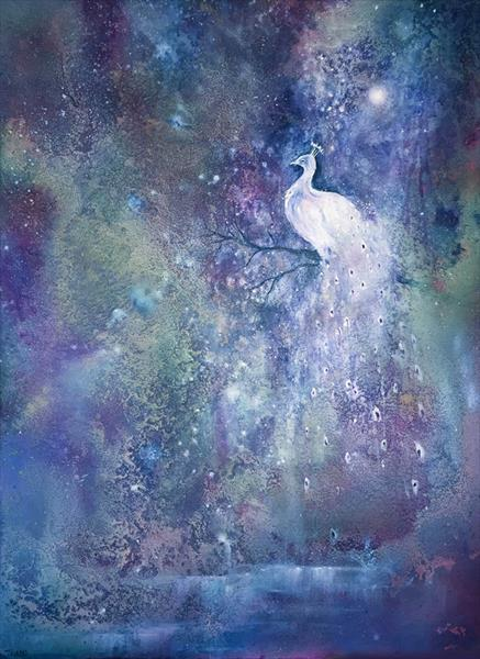 Moonlight Lake - A Mystical Moonlit Lake Scene With Peacock by Jennifer Taylor