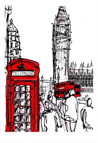 Red Phonebox (print) by Keith Mcbride
