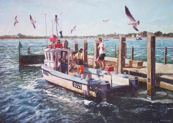 Fishing Boat At Mudeford Quay by Martin  Davey