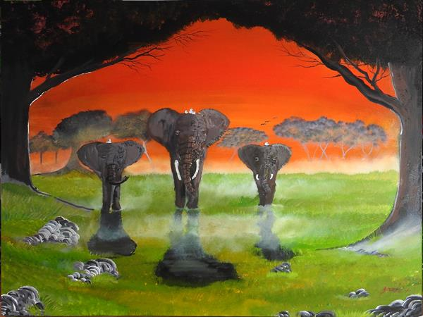 Elephants in the mist (VERY LARGE CANVAS/ A work to get lost in)