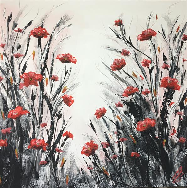 Large Red textured Poppy Painting