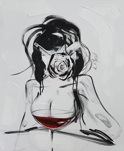 'In Vino Veritas' Abstract Nude by Kat  Herrgott-Penter
