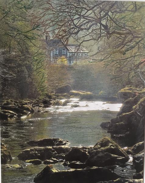 Country cottage on river by MARK LEARY