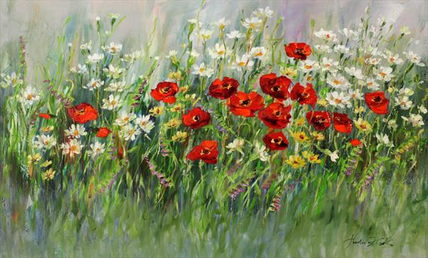 Poppies and camomiles by Margaret Raven