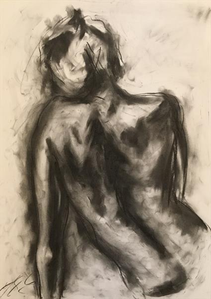 Thoughts? - Original Charcoal Nude Drawing by James Shipton