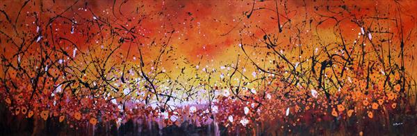 Tangerine Passion - Extra large original floral painting by Cecilia Frigati