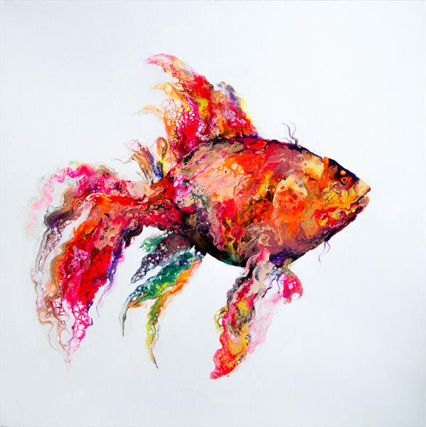 Golden fish, acrylic pouring by Inna Stone
