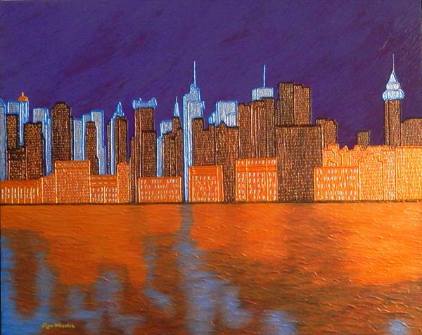 MIDNIGHT ON THE HUDSON - new york cityscape and hudson river evening reflections by Liza Wheeler