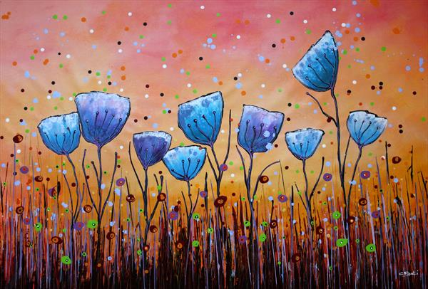 Young Folks #6 - Large original floral painting by Cecilia Frigati