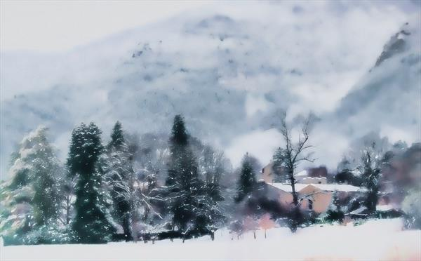 Vercors Village in Winter. Southern Alps. France by Georgina Bowater