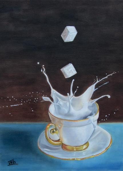 Still life a Cup of Tea with Milk and Sugar by Ira Whittaker