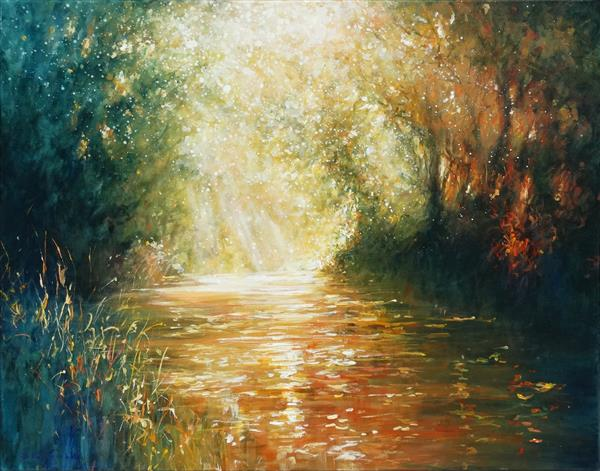 Golden Reflections (on display at Art gallery, Tetbury) by Mariusz Kaldowski