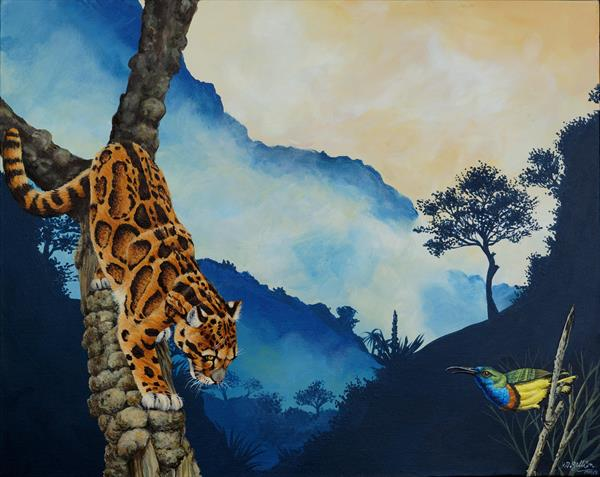 Clouded Leopard and Sunbird. by Robert Gellion