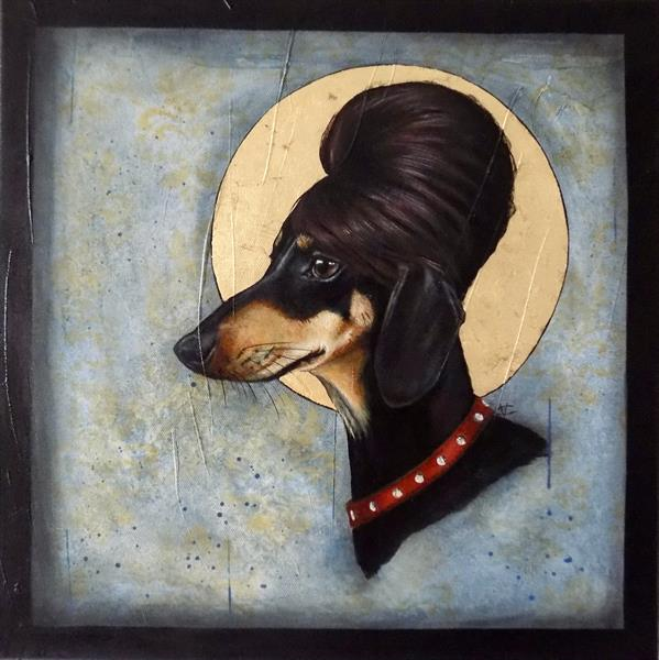 """Audrey Hepbone"" Dachshund painting with gold leaf flakes"