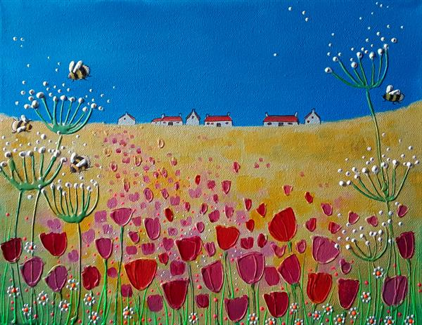 Tulips and Bumblebees by Angie Livingstone