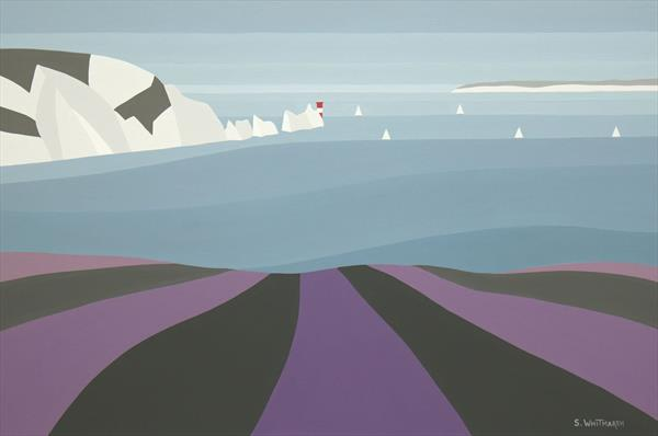 SAILING AROUND THE NEEDLES. ORIGINAL ISLE OF WIGHT PAINTING BY SUZANNE WHITMARSH.