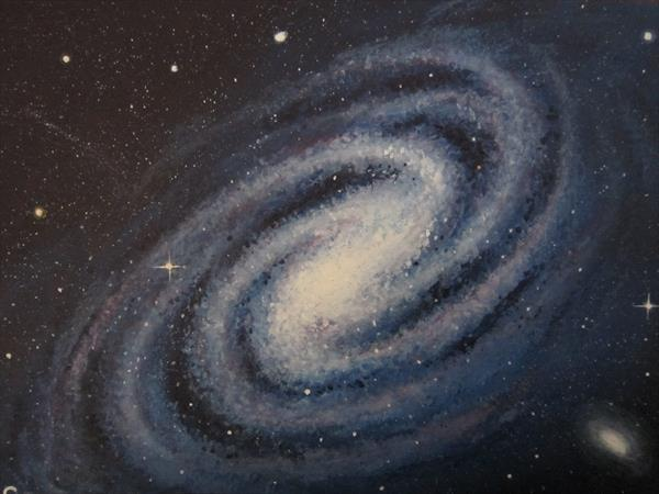 Blue Galaxy Acrylic Painting 10'' x 12'' by Barry John Gray