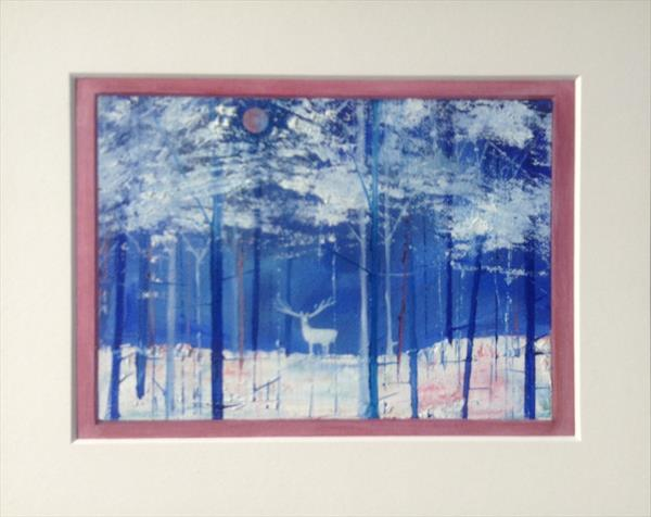The White Stag in Winter ( unframed original) by Sarah Gill