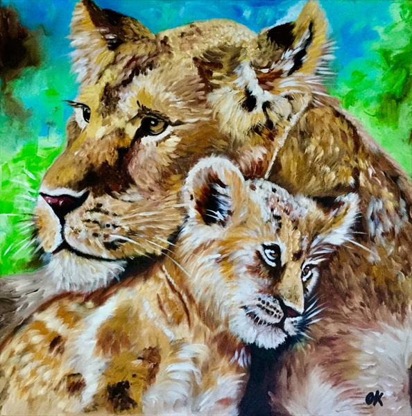Lioness and cub.  by Olga  Koval