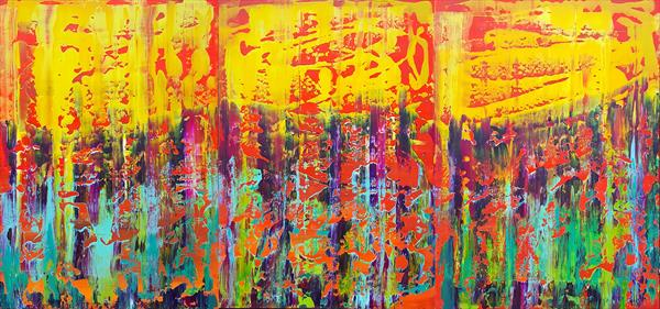 Rainy day in May - XXL triptych colorful abstract painting by Ivana Olbricht