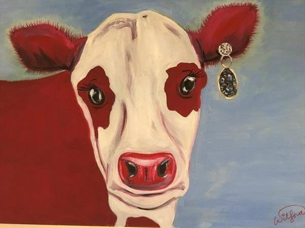 Red Glam Cow by KIM WILFORD