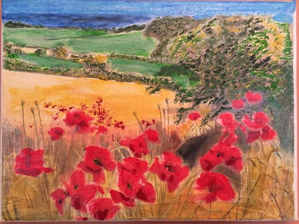 Poppies in countryside by MARK LEARY