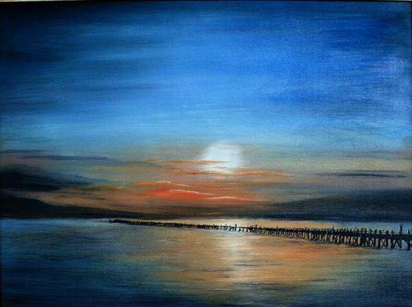 As Night Falls (over Amble harbour) by Susan Nicholson