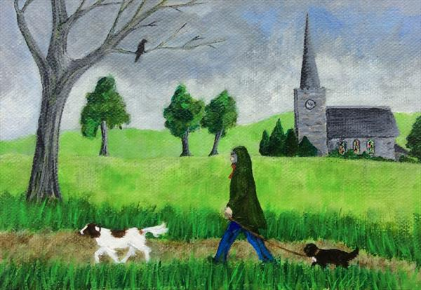 Walking the dogs past the church by Teresa Hodges