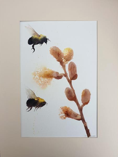 Bumble Bees & Pussy Willow flowers by Teresa Tanner