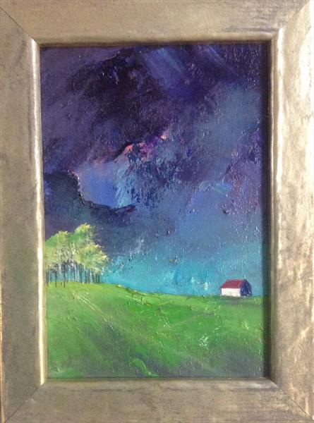 House on the Hill - framed original  by Sarah Gill