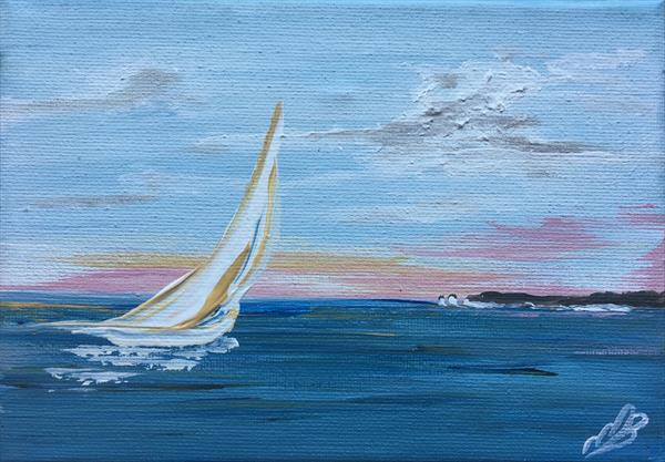 Sailing home on a mini canvas by Marja Brown
