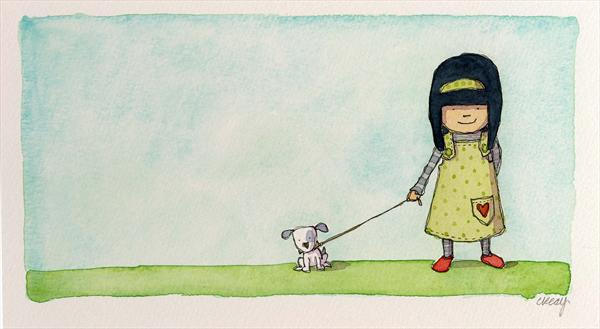 Girl and Dog by Claire Keay