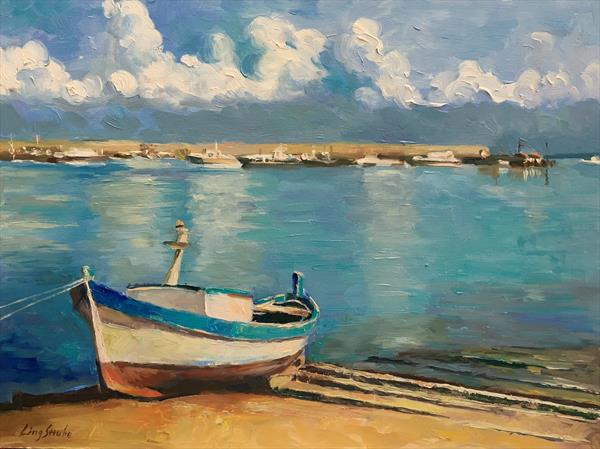 A Boat in Sicily - 2 (framed) by Ling Strube
