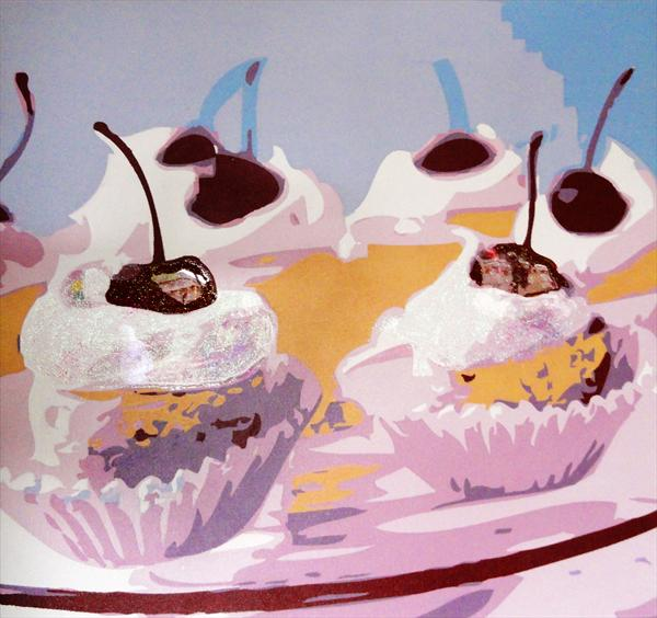 Cup Cakes - Six Cherries by Sue Rowe